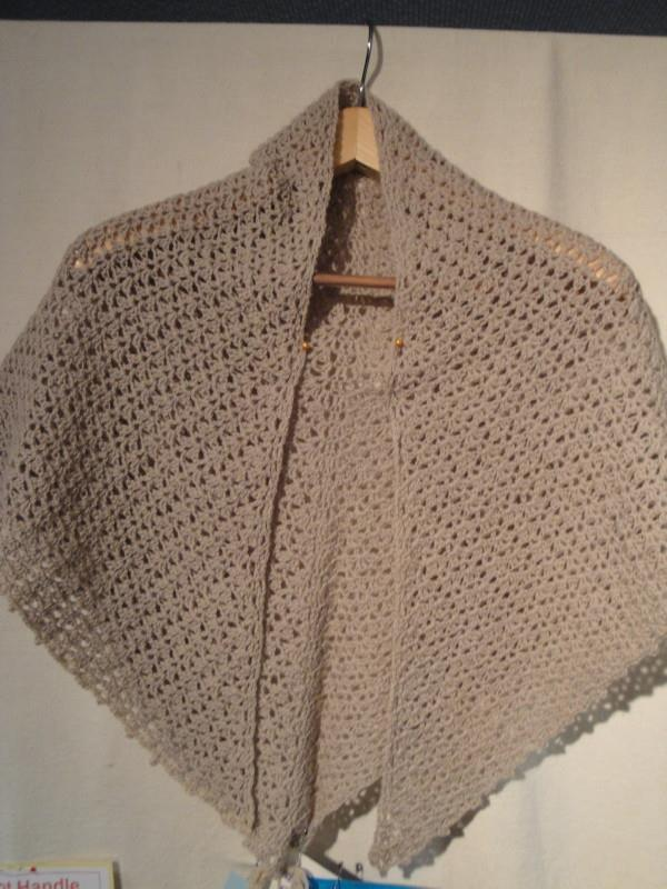 Triangular crochet shawl, 3 ply, nude colour - By Mary Newman