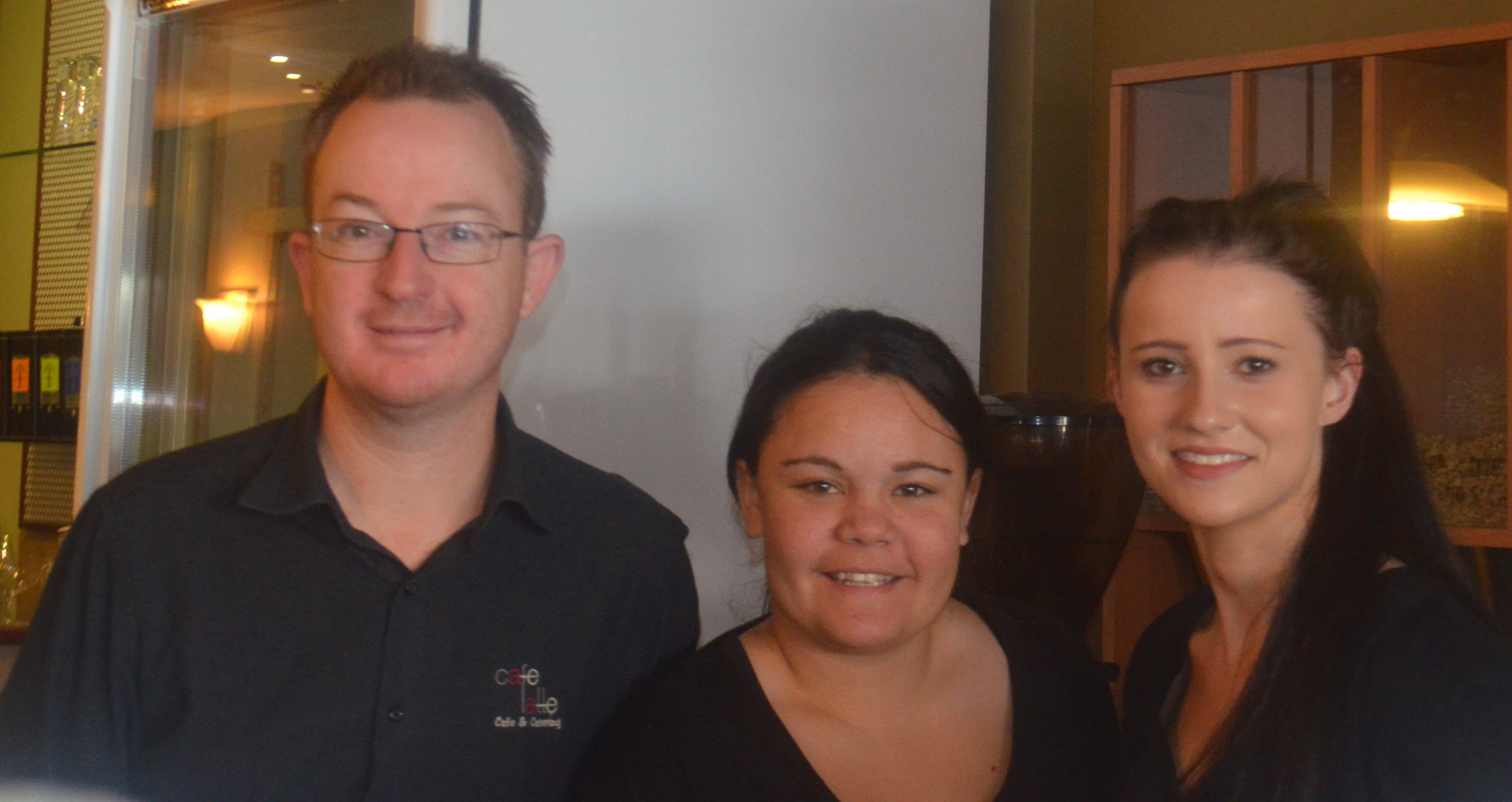 Aaron Wright Owner of Cafe Latte with two of his staff Sharni and Jacqueline
