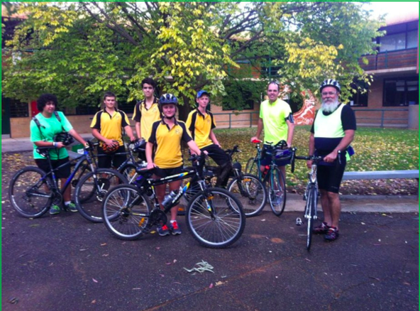 Cody Smith, Matthew Harrison, Logan Bryant, Adelaide Ellis, Brenton Clements, Mr Phelan and Mr Edwards pictured just before their first Wednesday afternoon cycling session.