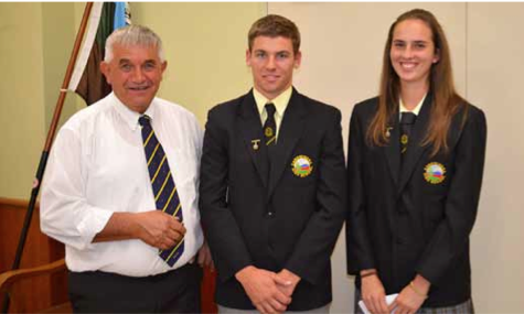 Mayor Ian Gosper with two of Canowindra High students Tim Middleton and Emily Price