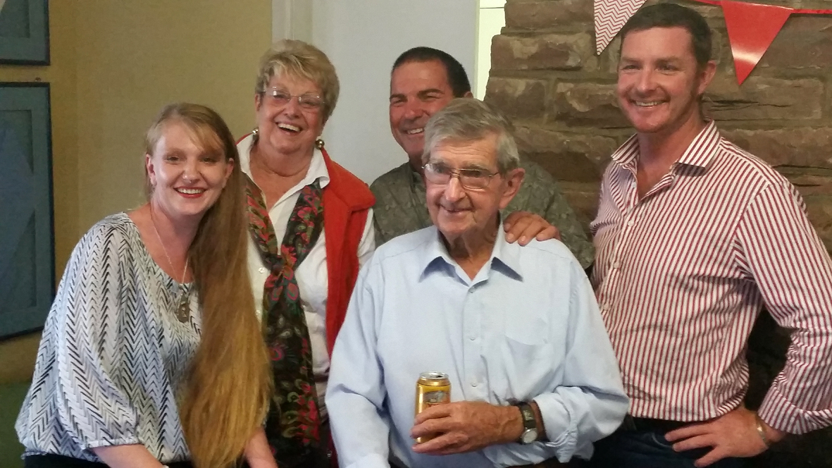 Tommy Starr pictured with his wife and children at his 80th birthday party