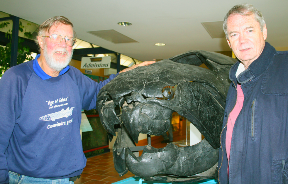 Professors Alex Ritchie (left) and Michael Archer at the Age of Fishes Museum