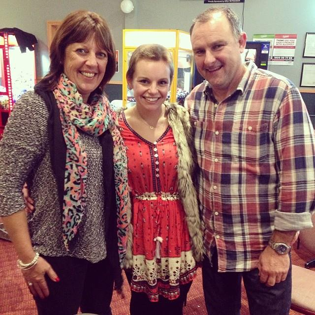 Ashlea after with her parents. Paul and Kathryn Codner