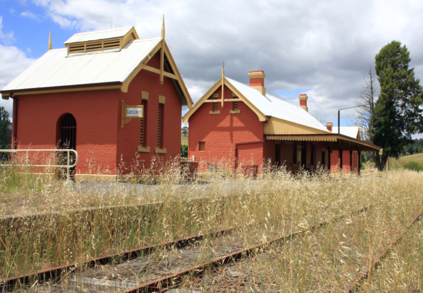 Carcoar station and rails -- icon of regional railway abandonment