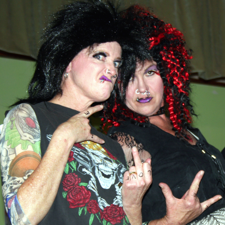 Going punk --  Donna Beath and Louise Clulow with a bit of curtain call sign language