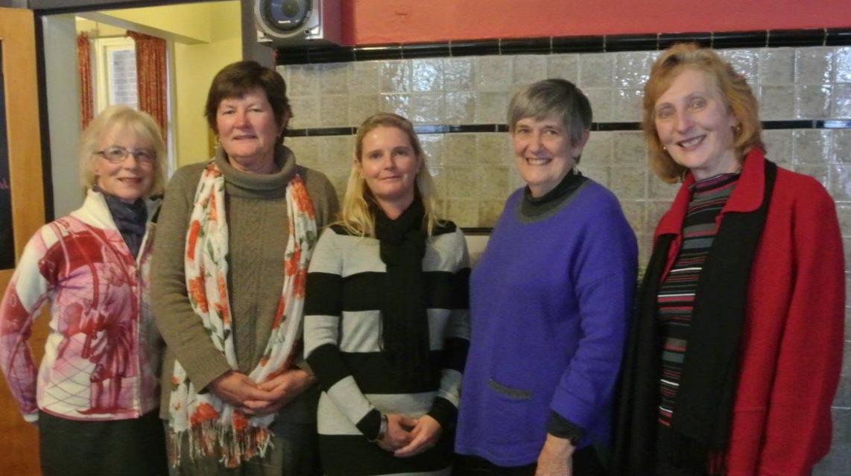 Sue Brown,  Paula Hambly (Cowra High representative), Bev Taylor (Canowindra High representative), Marianne Payten and Anne Holloway.