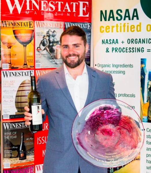 Anthony D'Onise with his award winning wine