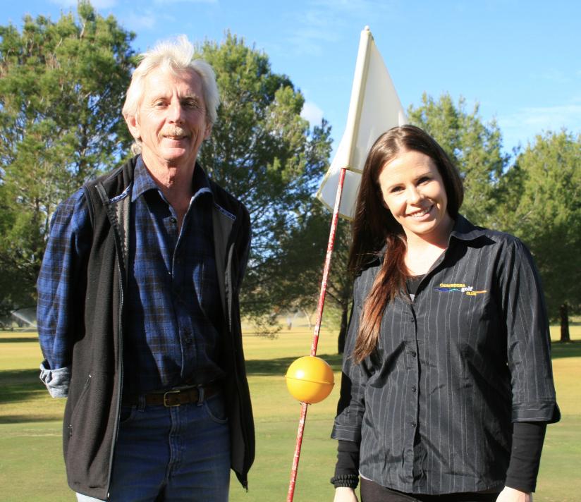 Charles Mackintosh and Amanda Boserio at the Canowindra Golf Club's ninth hole