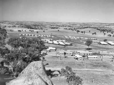 Looking west showing compounds of the Cowra prisoner of war camp with the group headquarter buildings in the foreground