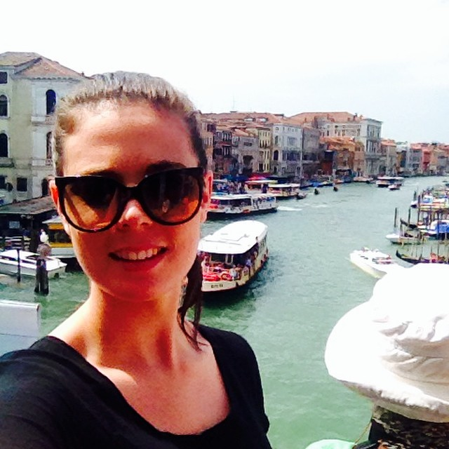 the beautiful Olivia Grant on the rialto bridge in venice