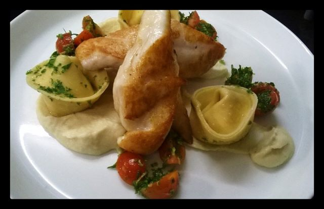 Fried John Dory with Cauliflower Puree, Ricotta Tortellini and Tomato Gremolata Salad.