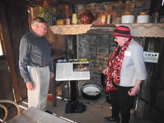John Davidson 7 Dorothy Balcomb inside Hut