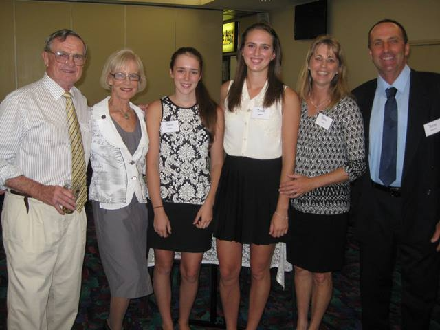 Ian & Sue Brown with Kelly Price, scholarship winner Emily Price and Lias & Matt Price