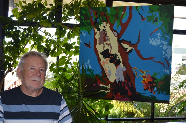 Derek with his piece 'My Life As A Tree'