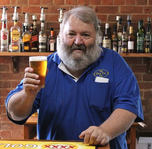 Graeme Beasley toasts with the first beer on tap since 1967